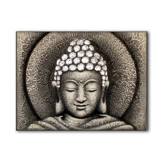 Buddha Canvas Painting Inspirational Sun Buddha Silver Painting Inside Current Silver Buddha Wall Art (View 3 of 15)
