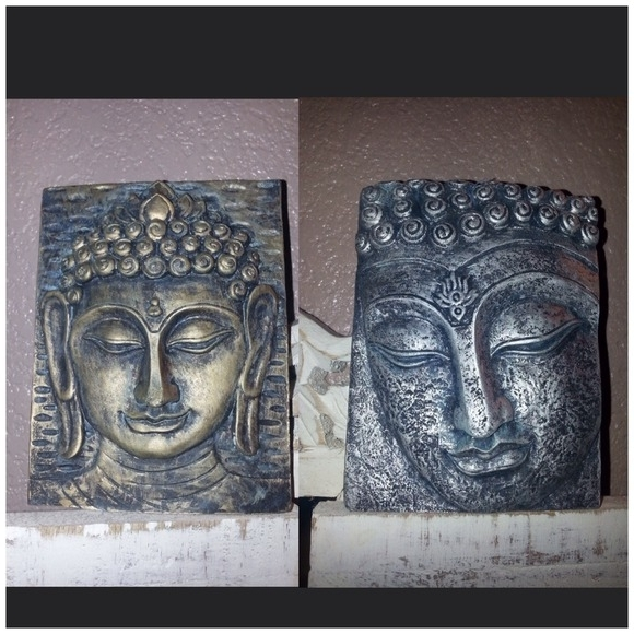 Buddha Indian Wall Plaques Hanging Silver Bronze (View 12 of 15)