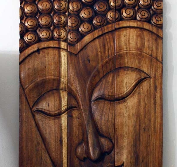 Buddha Wood Wall Art Pertaining To Trendy Thai Decor Wall Art, Buddha Wood Panels Beautiful Thai Wall Decor (View 4 of 15)