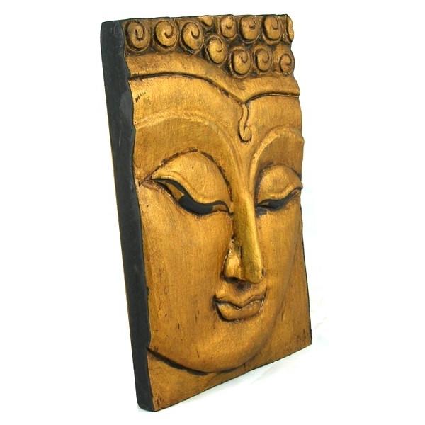 Buddha Wood Wall Art Regarding Recent Wooden Buddha Face Wall Art Panel 25Cm X 18Cm 10X7 Thai Temple Gold (View 6 of 15)