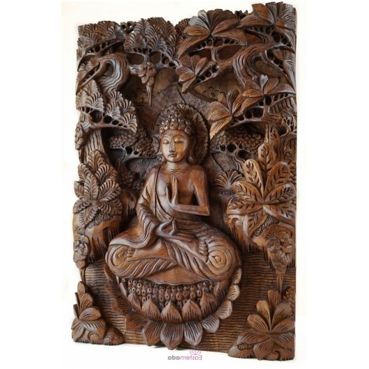 Buddha Wooden Wall Art Pertaining To Current Sculpture, Wall Art, Wall Decor, Wood Carving, Wood Art, Wall (View 2 of 15)
