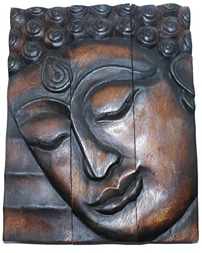 Buddha Wooden Wall Art Pertaining To Popular Amazon: Hand Carved Wooden Thai Buddha Face Wall Art Hanging (View 14 of 15)