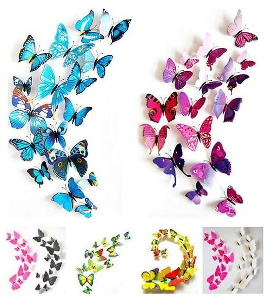 Butterflies 3D Wall Art In Popular Butterfly 3D Wall Stickers – 12 Pieces – Sugar & Cotton (View 5 of 15)