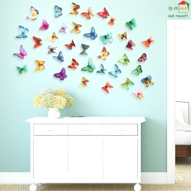 Butterflies 3D Wall Art Throughout Most Current Big Butterfly Flowers Vinyl Wall Stickers Home Decor Diy Living Room (View 11 of 15)