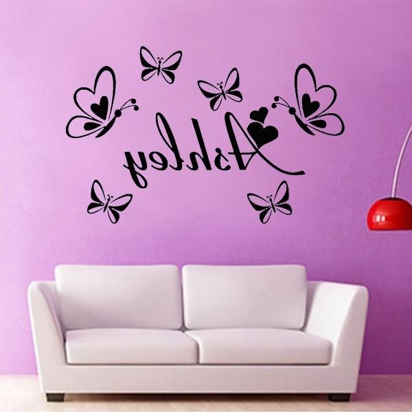 Butterflies Wall Art Stickers Inside Well Known Custom English Name Butterflies Wall Art Stickers Baby Girl Bedroom (View 2 of 15)
