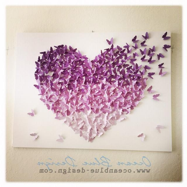 Butterfly Canvas Wall Art Pertaining To Current Ombre Butterfly Heart 3D Canvas Wall Art – Lavender / Purple (View 3 of 15)