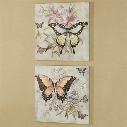Butterfly Canvas Wall Art throughout Newest All Aflutter Butterfly Canvas Wall Art Set