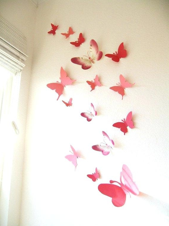 Butterfly Wall Decor Paper Butterflies Butterfly Wall Art Wall Decor For Famous 3D Wall Art Walmart (View 13 of 15)