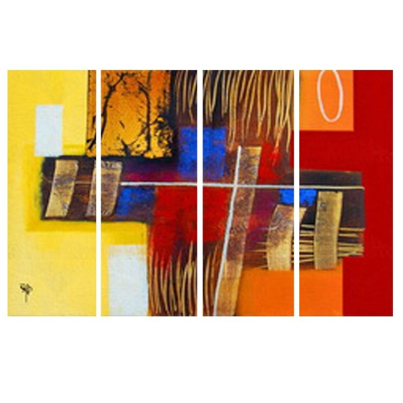 Buy Ray Decor's Multiple Sparkling Abstract Wall Painting 4 Frames Within Most Recently Released India Abstract Wall Art (View 3 of 15)