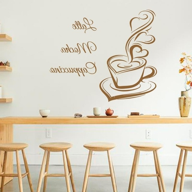 Cafe Latte Kitchen Wall Art For 2017 Art Design Coffee Wall Decals Latte Mocha Cappuccino Coffee Cup With (View 2 of 15)