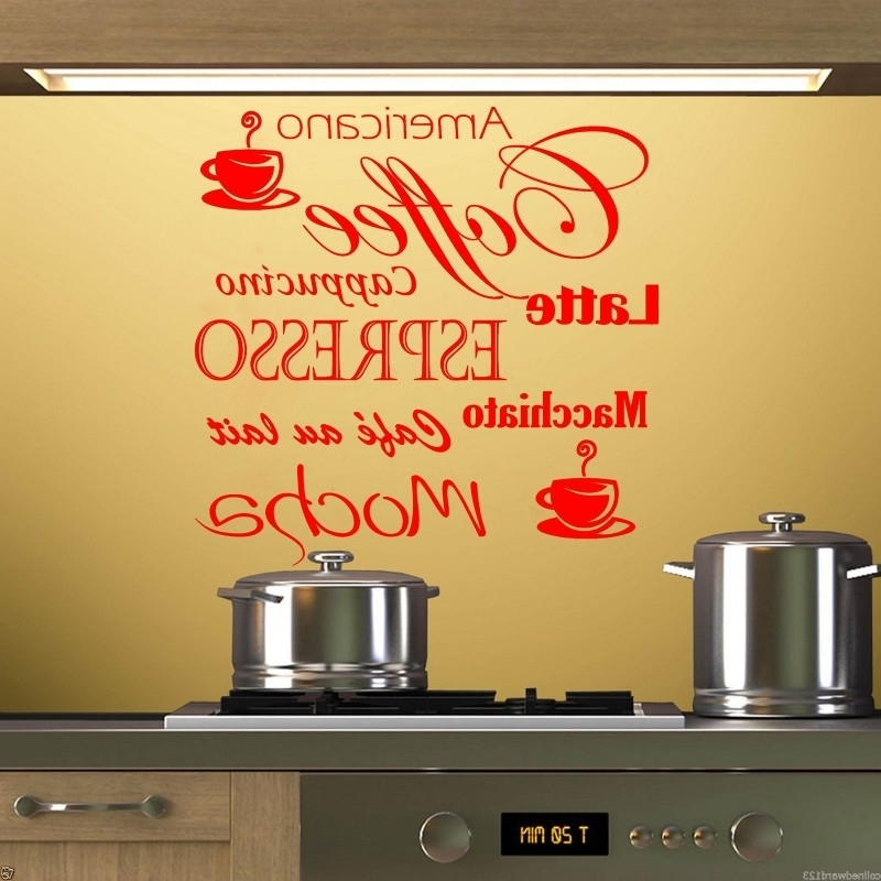 Cafe Latte Kitchen Wall Art With Trendy Coffee Latte Mocha Wall Art Decal For Kitchen Wall Decoration (View 3 of 15)