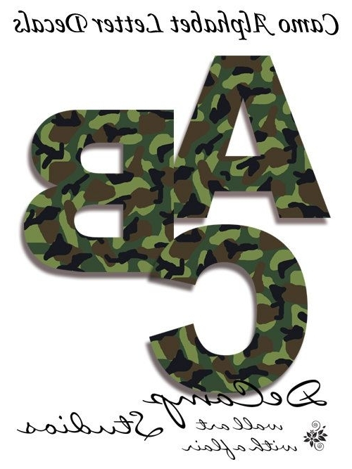 Camouflage Wall Art Intended For Current Camo Alphabet Letters Wall Art Decals For Boys Army Hunting Room (View 8 of 15)