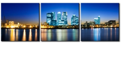 Canary Wharf London Triptych City Canvas 60 X 20 Inch Wall Art Print Throughout Recent London Scene Wall Art (View 1 of 15)
