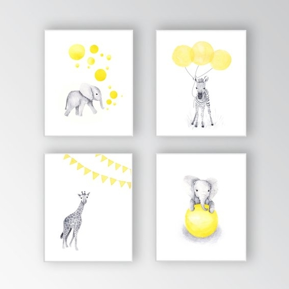 Canvas Art Baby Nursery Decor Yellow And Gray Nursery (View 1 of 15)