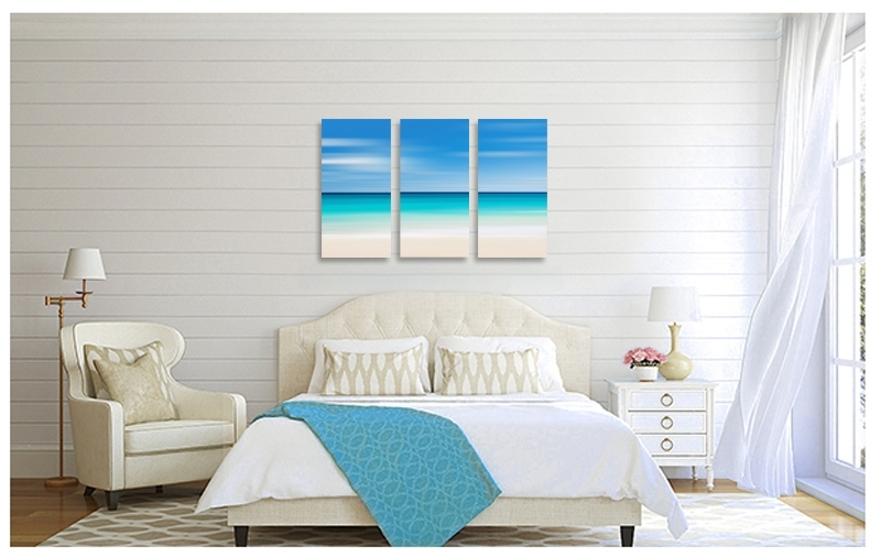 Canvas Beach Decor Triptych Large Wall Art