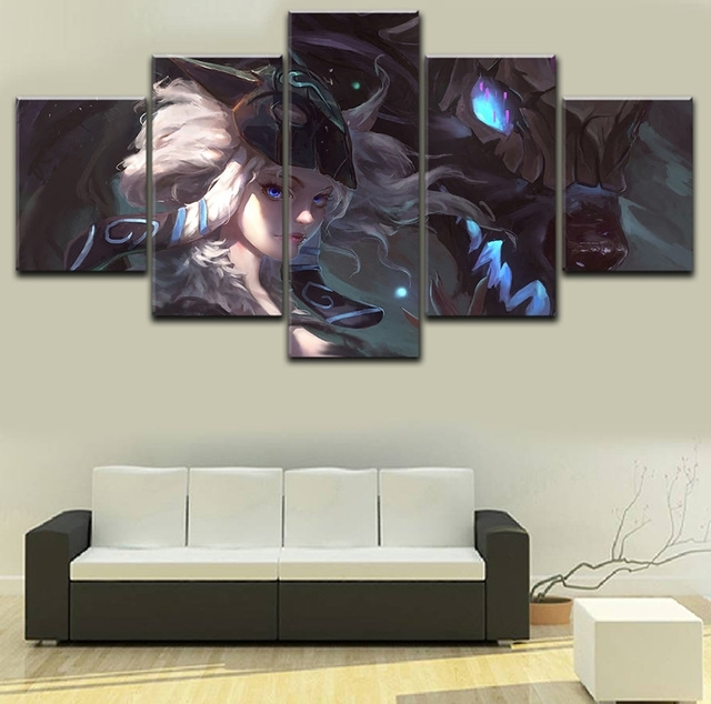 Canvas Painting 5 Pieces Kindred League Of Legends Modern Wall Art For Well Known Kindred Abstract Metal Wall Art (View 3 of 15)