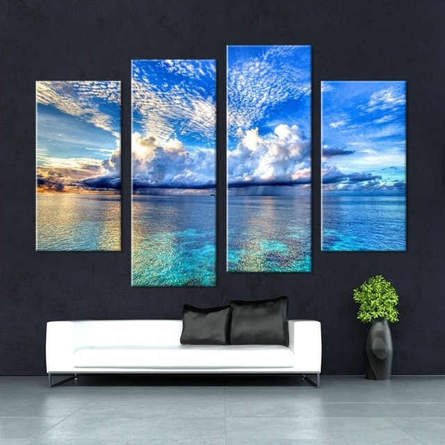 Canvas Print Art 4 Panel Hd Printed Oil Painting Outer Space Wall Regarding Fashionable Outer Space Wall Art (View 2 of 15)