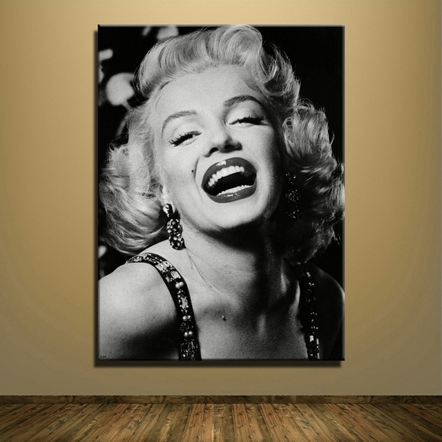 Canvas Print Sexy Marilyn Monroe Black And White Oil Painting Wall For Newest Marilyn Monroe Black And White Wall Art (View 4 of 15)