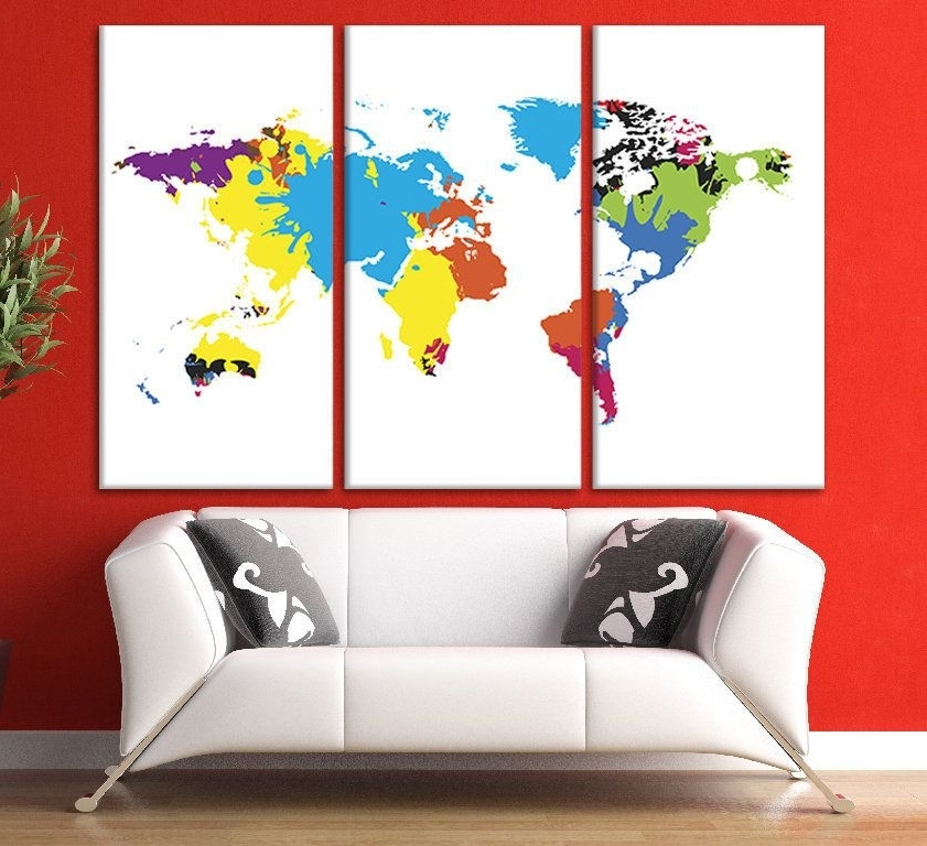 Canvas Print Wall Art World Map Canvas World Map Wall Art Canvas With Best And Newest Framed World Map Wall Art (View 3 of 15)