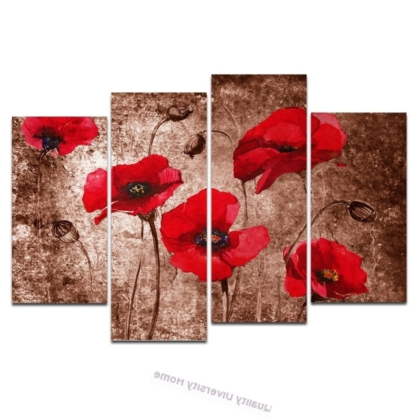 Canvas Prints 4 Panels Red Poppies On Brown Floral Wall Art For Wall Pertaining To Preferred Red Poppy Canvas Wall Art (View 3 of 15)