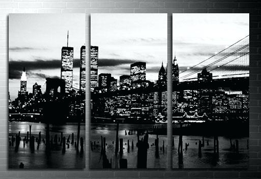 Canvas Skyline New Black And White York Prints – Vintagevalues With Regard To Best And Newest New York Skyline Canvas Black And White Wall Art (View 3 of 15)