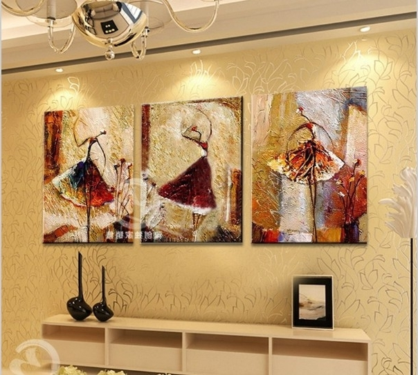 Canvas Wall Art Sets Of 3 With Most Recently Released 3 Piece Canvas Wall Art Sets Handpainted Pictures For Bedroom Modern (View 9 of 15)
