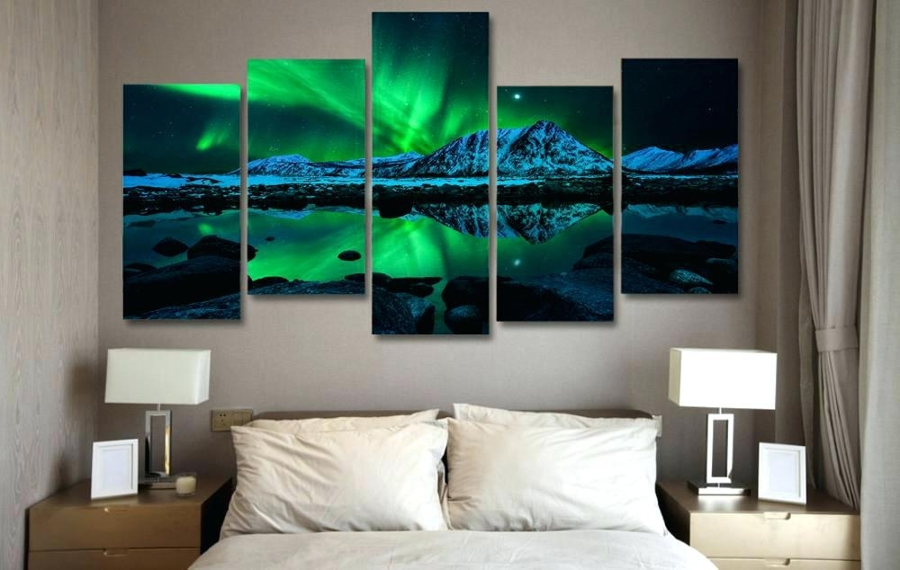 Canvass Wall Art Northern Lights Aurora 5 Piece Canvas Wall Art Pertaining To Well Known Limited Edition Canvas Wall Art (View 6 of 15)