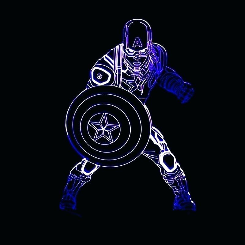 Captain Lamp Marvel Heroes Wall America 3D Light Art Nightlight With Latest 3D Wall Art Captain America Night Light (View 9 of 15)