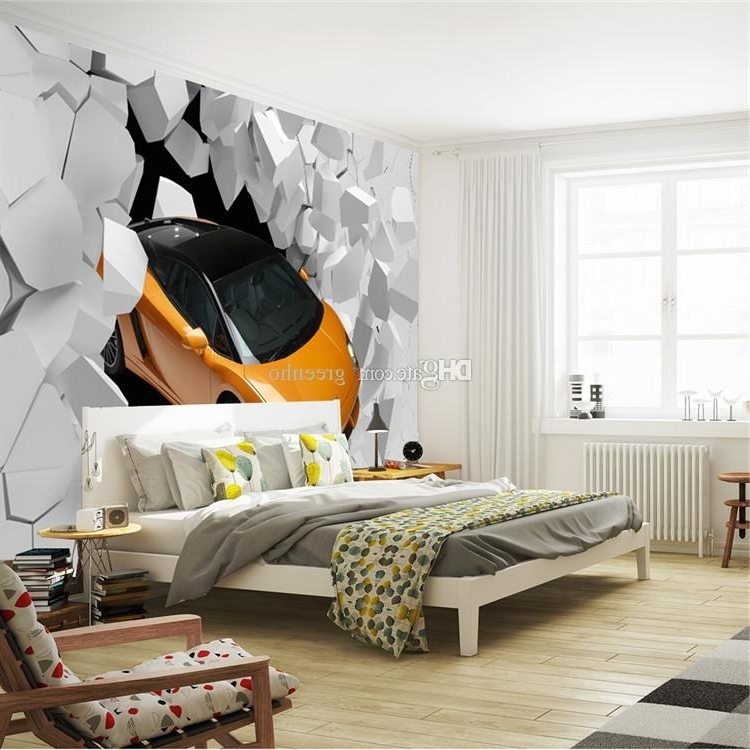 Cars 3D Wall Art Pertaining To Best And Newest 3D Sports Car Photo Wallpaper Giant Wall Mural Unique Design (View 11 of 15)