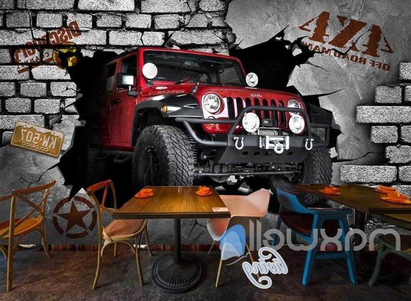 Cars 3D Wall Art With Regard To Most Current 3D 4X4 Jeep Car Breakthrough Brick Wall Art Wall Murals Wallpaper (View 2 of 15)