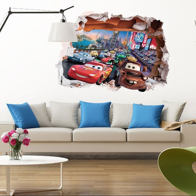 Cars 3D Wall Art Within Most Recently Released Vinyl Pvc Pixar Movie Cars Cartoon 3D Wall Stickers Background (View 7 of 15)