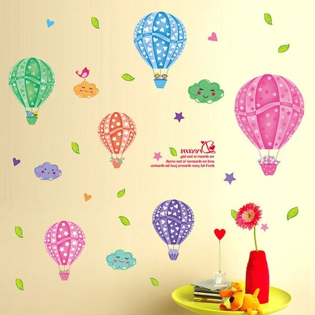 Cartoon 3D Diy Colorful Hot Air Balloons Wall Stickers For Children Inside 2017 Air Balloon 3D Wall Art (View 9 of 15)