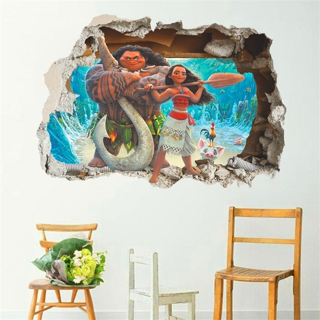 Cartoon Movie Moana Maui Vaiana Wall Sticker For Kids Rooms 3D With Favorite 3D Effect Wall Art (View 5 of 15)