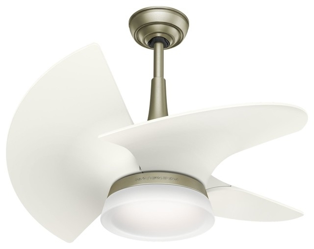 """Casablanca 30"""" Orchid Outdoor, Led White Ceiling Fan, Light & Wall With Regard To Recent White Outdoor Ceiling Fans With Lights (View 4 of 15)"""