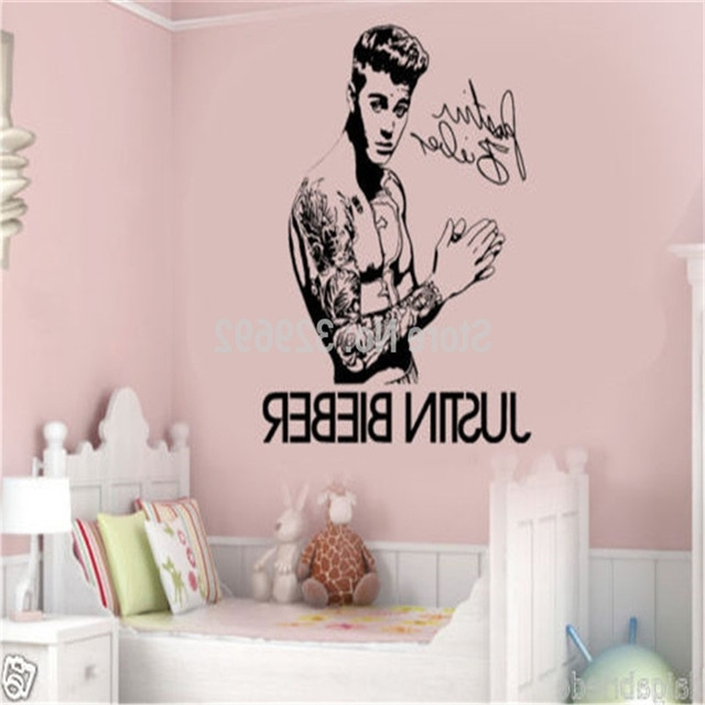 Celebrity Justin Bieber Diy Autograph Wall Art Sticker/decal Home Within Popular Justin Bieber Wall Art (View 2 of 15)