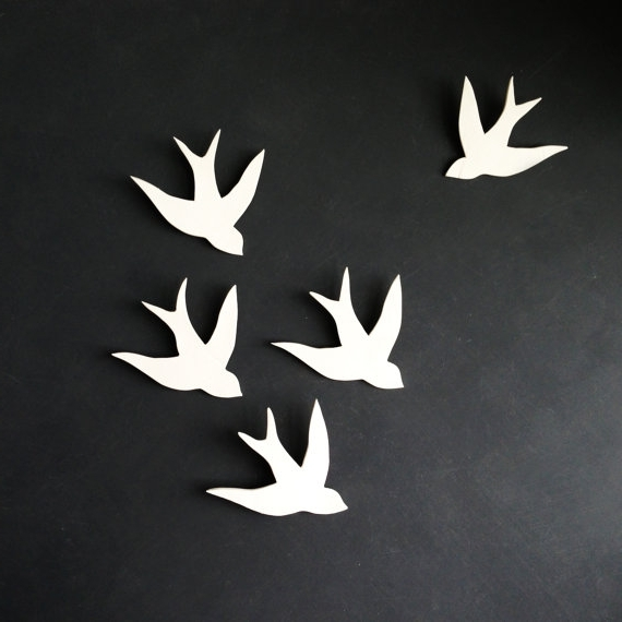 Ceramic Bird Wall Art Intended For Widely Used Wall Art Swallows In Flight White Porcelain Bird Wall Sculpture (View 5 of 15)