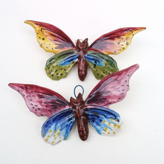 Ceramic Butterfly Wall Art Inside Famous Vintage Ceramic Butterfly Wall Hanging Butterfly Wall Art Multi (View 2 of 15)
