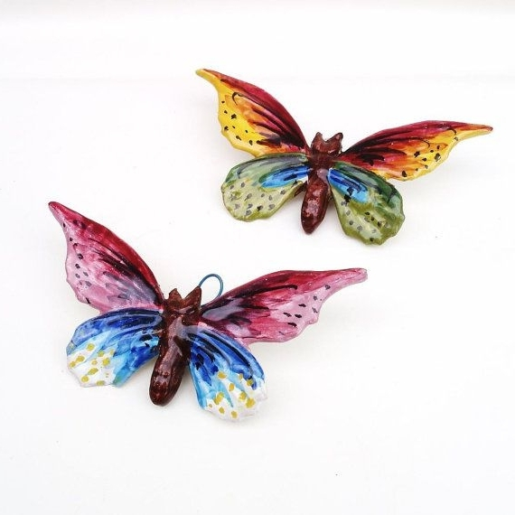 Ceramic Butterfly Wall Art Regarding 2018 Vintage Ceramic Butterfly Wall Hanging Butterfly Wall Art Multi (View 4 of 15)