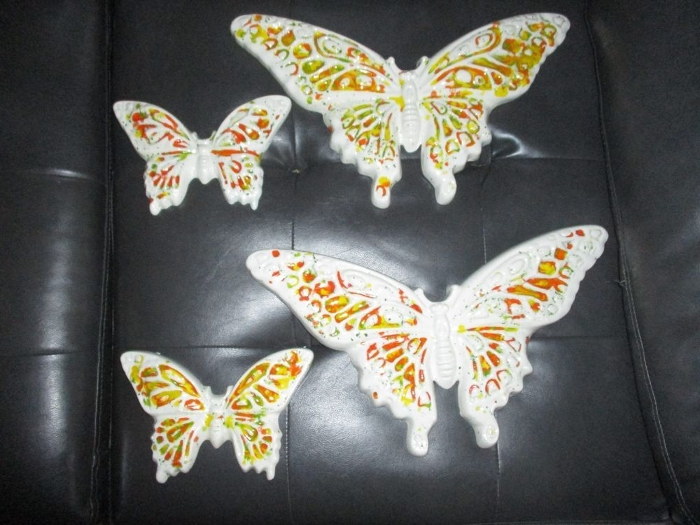 Ceramic Butterfly Wall Art Within Well Liked 1960's Hand Painted Ceramic Butterfly Wall Art/set Of 4/orange (View 7 of 15)