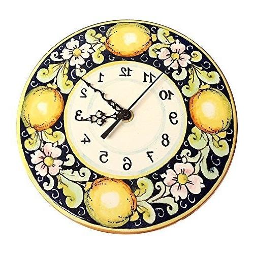 Ceramiche Darte Parrini Italian Ceramic Wall Clock Decorated Lemons Pertaining To Most Current Italian Ceramic Wall Clock Decors (View 2 of 15)