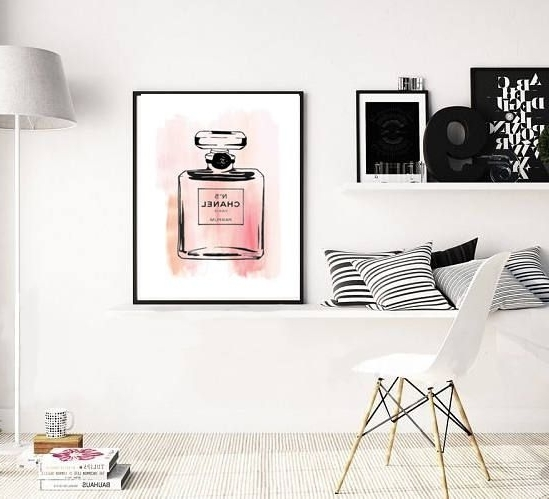 Chanel Wall Art Print, Chanel Number 5 Art, Girly Office, Glamorous Pertaining To Current Glamorous Wall Art (View 3 of 15)