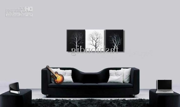 Cheap Black And White Wall Art Inside Well Liked 2018 Abstract Wall Tree Black White Oil Painting Canvas Simple (View 4 of 15)
