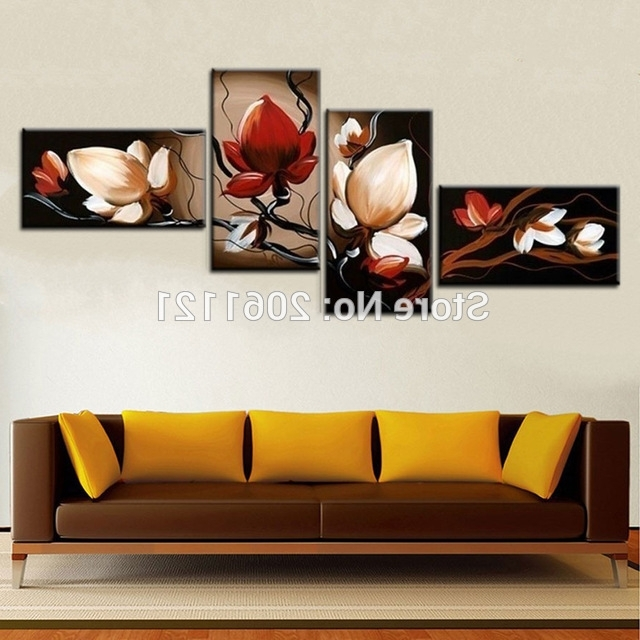 Cheap Wall Art Canvas Sets With Regard To Current Best Sale Dark Red Flower Art Canvas Painting Oil Cheap Wall Art (View 7 of 15)