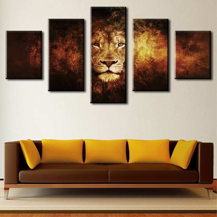 Cheap Wall Art Sets Pertaining To Latest Decor Wall Painting Elegant 5 Piece Lion Modern Home Wall Decor (View 4 of 15)