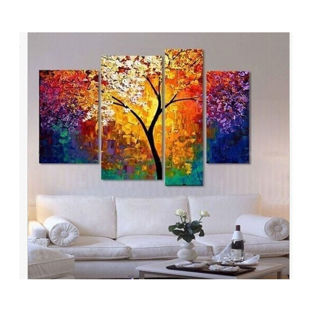 Cheap Wall Canvas Art With Regard To Well Known Handpainted Oil Painting Palette Knife Paintings For Living Room (View 9 of 15)
