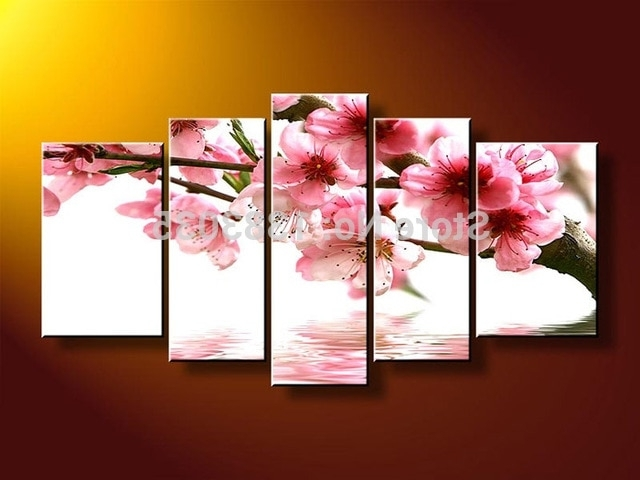 Cherry Blossom Oil Painting Modern Abstract Wall Art In Most Recent Hand Painted Modern Water Pink Cherry Blossom Landscape Oil (View 4 of 15)
