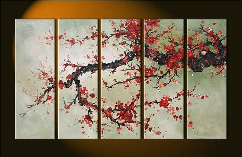 Cherry Blossom Oil Painting Modern Abstract Wall Art Regarding Most Up To Date Hand Made 5 Pieces Cherry Blossom Painting Abstract Red Flower Oil (View 5 of 15)
