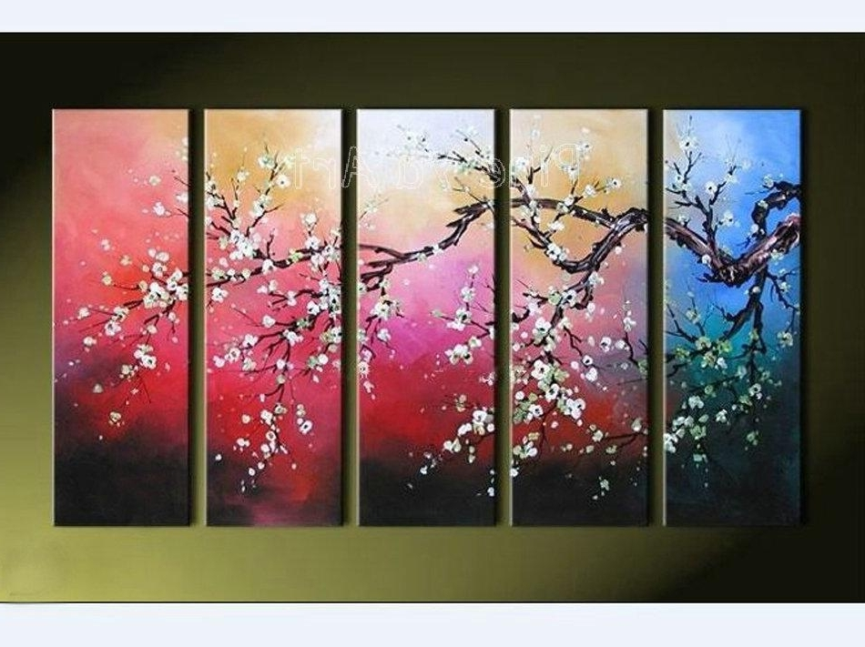 Cherry Blossom Oil Painting Modern Abstract Wall Art Within 2018 2018 Modern Abstract Wall Canvas Art Large Decorative Cherry Blossom (View 3 of 15)