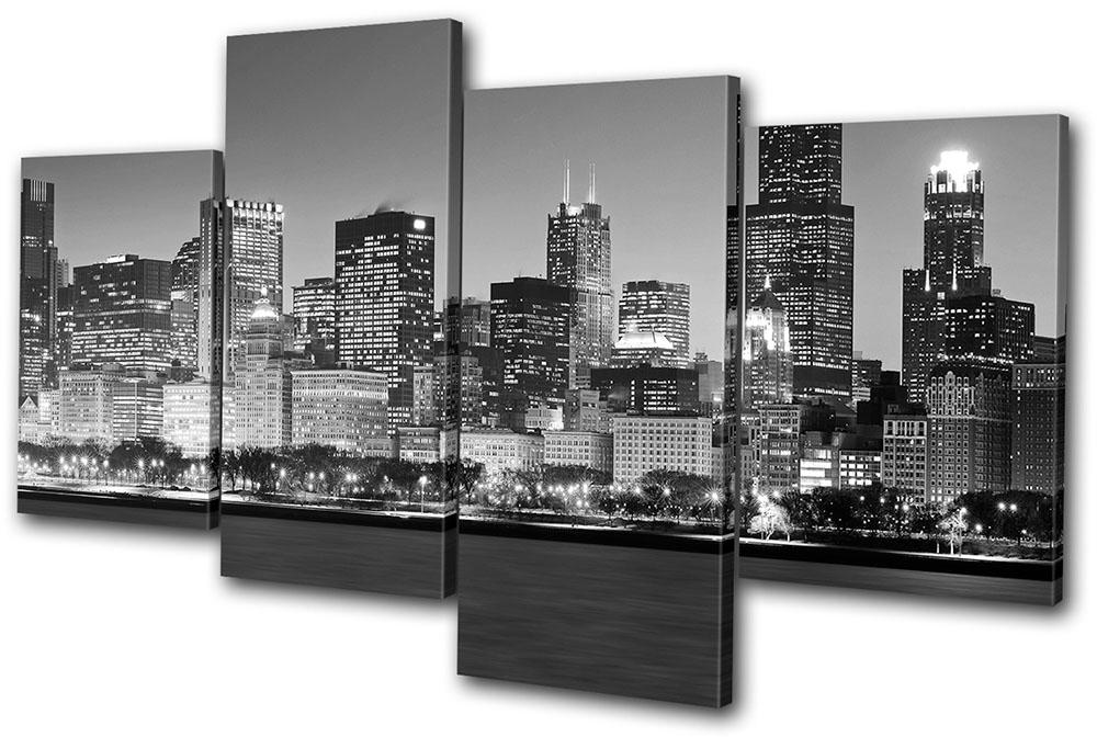 Chicago Cityscape City Multi Canvas Wall Art Picture Print Va (View 9 of 15)