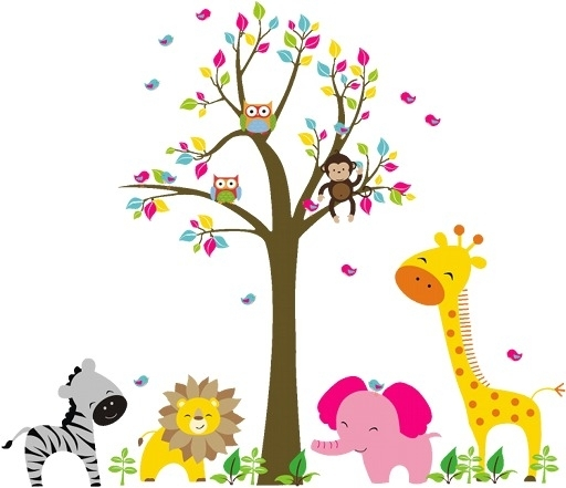 Children Wall Art Throughout Latest Kids Wall Art Lion Elephant Giraffe Monkey Animal In The Zoo Beside (View 3 of 15)